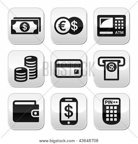 Money, atm - cash mashine vector buttons set