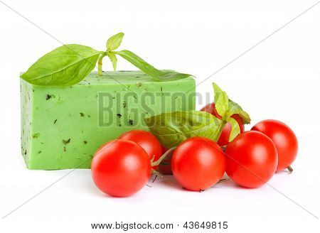 Green Cheese With A Basil And Tomatoes