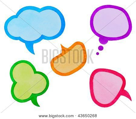 Set Of Colorful Speech Bubbles Or Clouds, Watercolor Hand Painted, Isolated