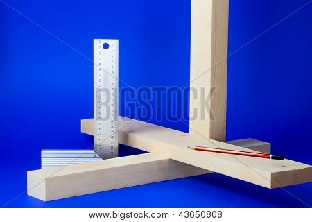Metal Setsquare And Wooden Bars