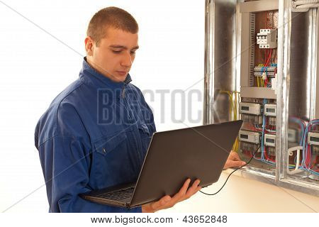 Handyman Concentrating On His Work