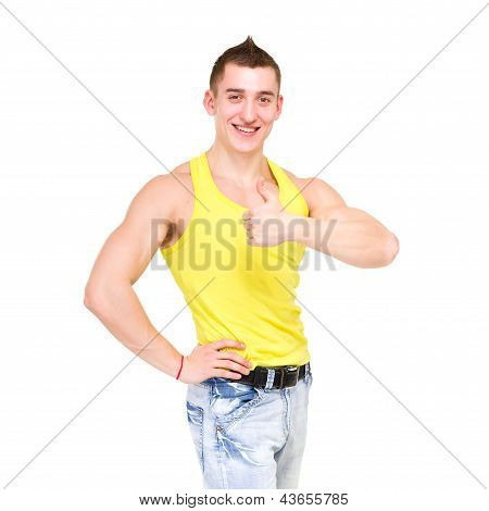 Happy man giving thumbsup sign