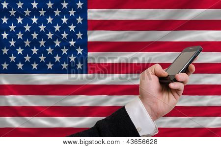 Cell Phone In Front  National Flag Of America