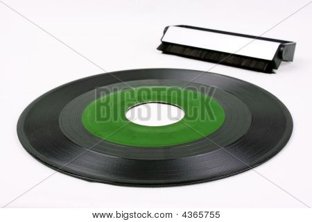 Green Record And Vinyl Brush
