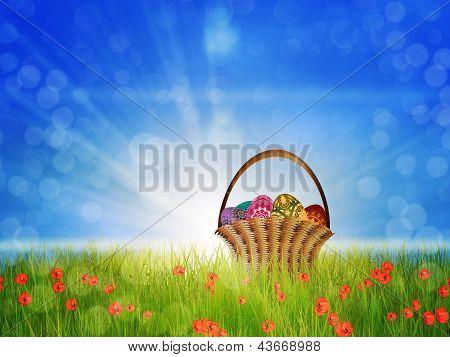 Basket Of Eggs On Poppy Field