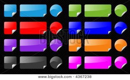 Set Of Vector Shiny Design Elements On Striped Black Background. Different Colors, Aqua Web 2.0 Styl