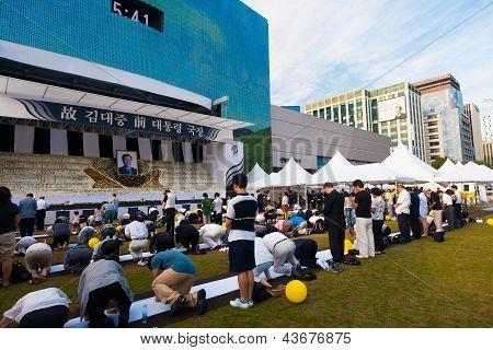 Mourners Kim Dae Jung Memorial Angled Seoul Korea