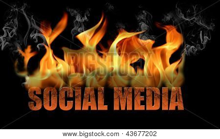 Word Social Media In Flames