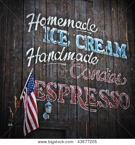 Wood Sign Homemade Ice Cream, Candies And Espresso