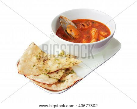 Seafood Soup With Focaccia