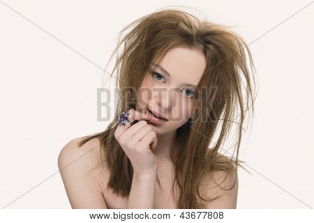 Closeup Fashion Portrait Of Young Beautiful Woman