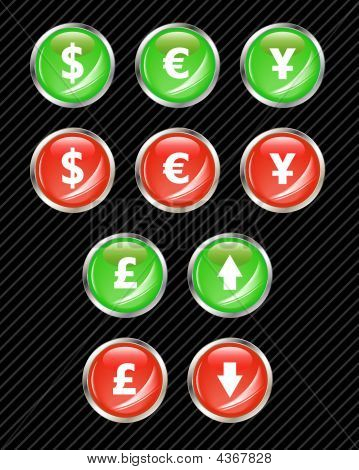 Set Of Vector Interface Buttons For Currency Exchange Business Theme. Easy To Edit, Any Size. Aqua W