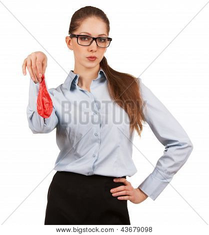 Stylish Woman Holding A Deflated Balloon