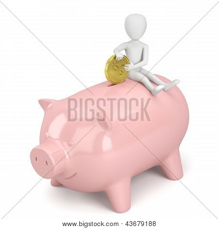 3D Small People - Money Piggy Bank.