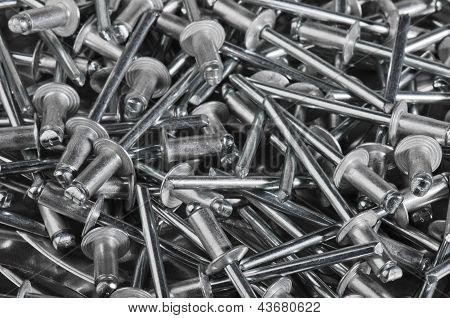 Aluminium Assembly Rivets, Close Up