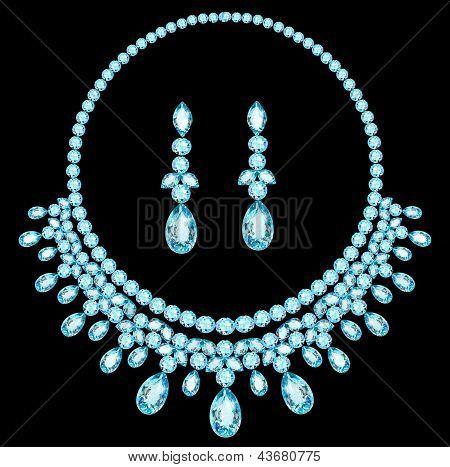 Collar azul las mujeres para contraer matrimonio con piedras preciosas