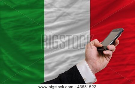 Cell Phone In Front  National Flag Of Italy