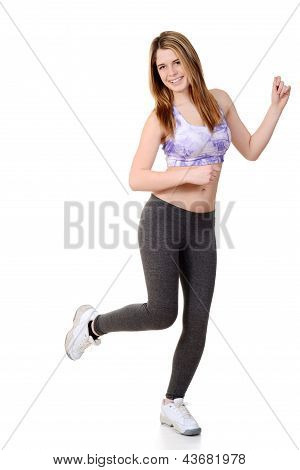Teen doing dance fitness