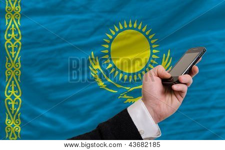 Cell Phone In Front  National Flag Of Kazakhstan