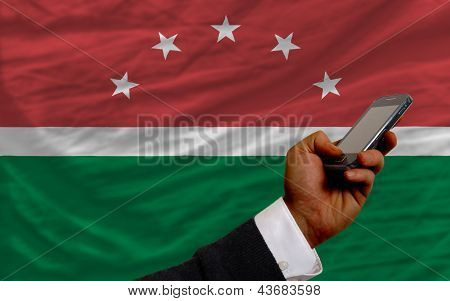 Cell Phone In Front  National Flag Of  Of Maghreb