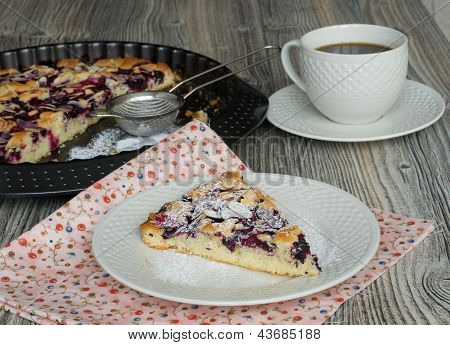 Tasty Cake With Blackcurrant And Cherries