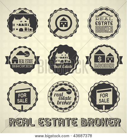 Vector Set: Vintage Real Estate Labels