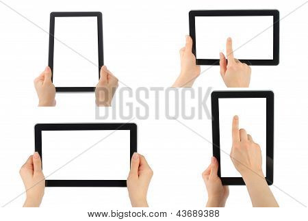 Set of digital tablet PC with hands