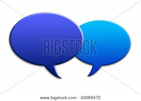 Two social media talk speech bubbles with shadows