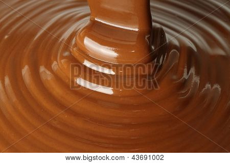 Melted milk chocolate flow
