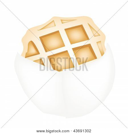 Baked Round Waffles On White Paper Package