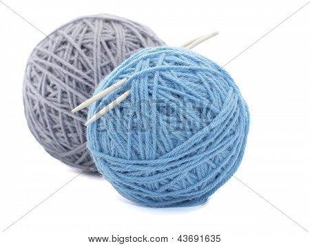 Two Skeins Of Yarn On White Background