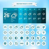 stock photo of rainy day  - Weather widget template and set of weather icons - JPG