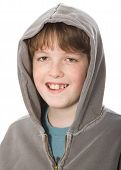 image of 11 year old  - Smiling boy in a hoodie isolated against white - JPG
