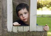 picture of playground  - Portrait of a small child in a wooden window of a play house in a playground in a park or a garden - JPG