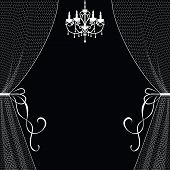 image of lace-curtain  - Vintage card with chandelier and curtains on black background - JPG