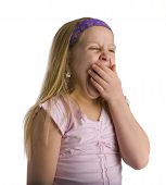 picture of droopy  - Girl yawning from being tired and exhausted over white - JPG