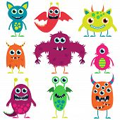 stock photo of tail  - Colorful Cartoon Style Cute and Evil Monsters - JPG