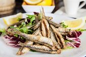 stock photo of hake  - a plate of deep fried anchovies with lemon and salad