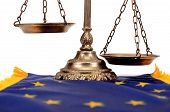 Scales Of Justice On The European Union Flag