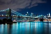 stock photo of bridge  - Brooklyn Bridge and Manhattan, New York, night scene