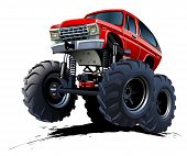 foto of muscle-car  - Vector Cartoon Monster Truck - JPG