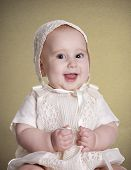 stock photo of christening  - a small baby with her  - JPG