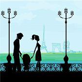 Постер, плакат: Семья в Париж с Эйфелевой башни