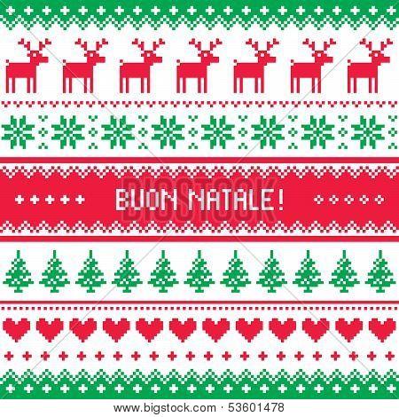 Buon Natale card - scandynavian christmas pattern