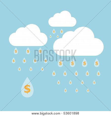 Concept Idea Of Money Raining