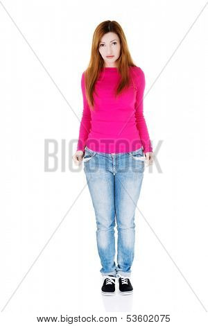 Beautiful woman standing and showing her empty pockets. Isolated on white.
