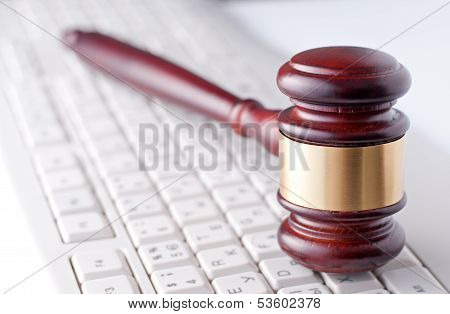 Gavel On A Computer Keyboard