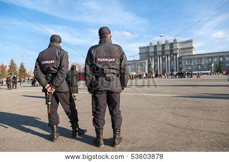 Samara, Russia - November 7: Russian Police At The Central Square After The Reconstruction Parade 19