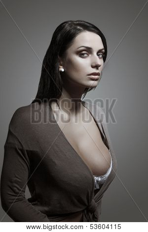 Sexy Brunette Woman Portrait