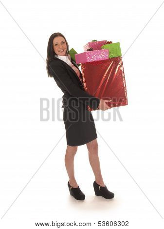 beautiful young business girl with gifts